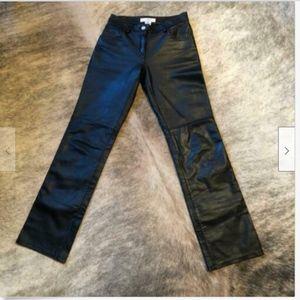 NWOT A/X ARMANI EXCHANGE Black Leather Jeans SZ 0